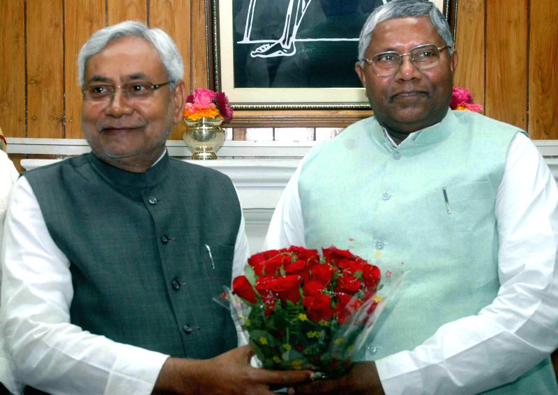 Bihar Assembly speaker Uday Narain Choudhary and Chief Minister Nitish Kumar at the state legislative assembly in Patna, on March 11, 2015. - Uday Narain Choudhary