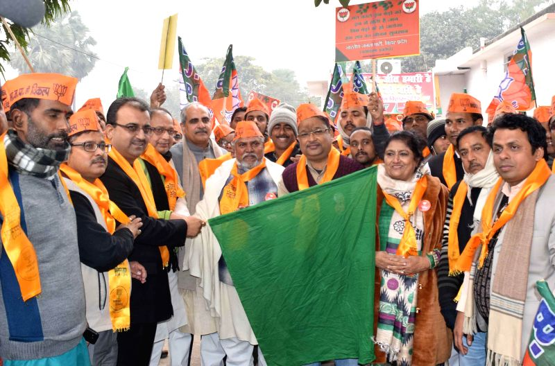 Bihar BJP chief Mangal Pandey flags off an awareness rally in Patna, on Dec 25, 2014. - Mangal Pandey