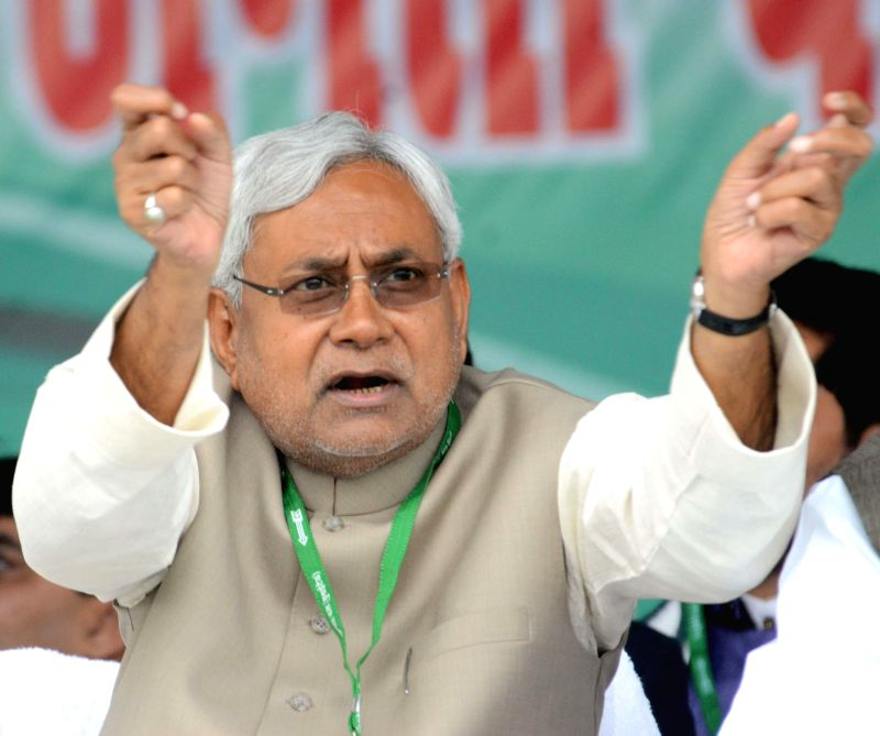 Bihar Chief Minister and JD(U) leader Nitish Kumar during a JD(U) workers' rally at the Gandhi Maidan in Patna, on March 1, 2015. - Nitish Kumar