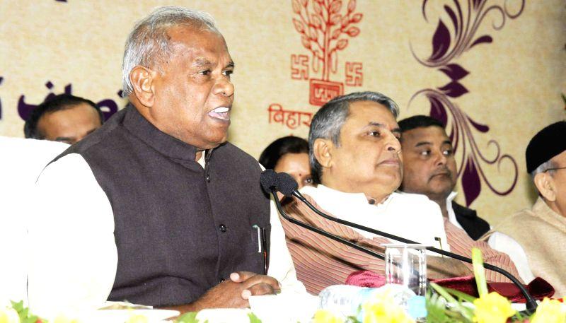 Bihar Chief Minister Jitan Ram Majhi addresses a during a programme organised to release report card of nine years of JD (U) rule in Bihar, in Patna on Nov 25, 2014. - Jitan Ram Majhi