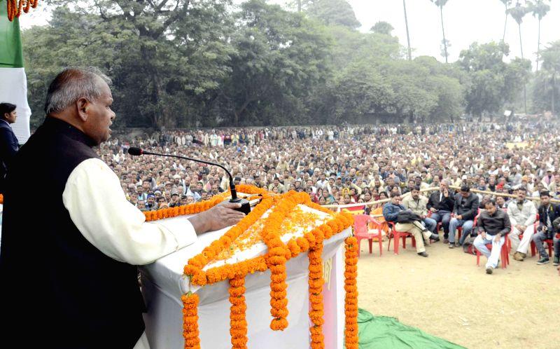 Bihar Chief Minister Jitan Ram Majhi addresses a rally at at Miller School Ground in Patna, on Dec 15, 2014. - Jitan Ram Majhi