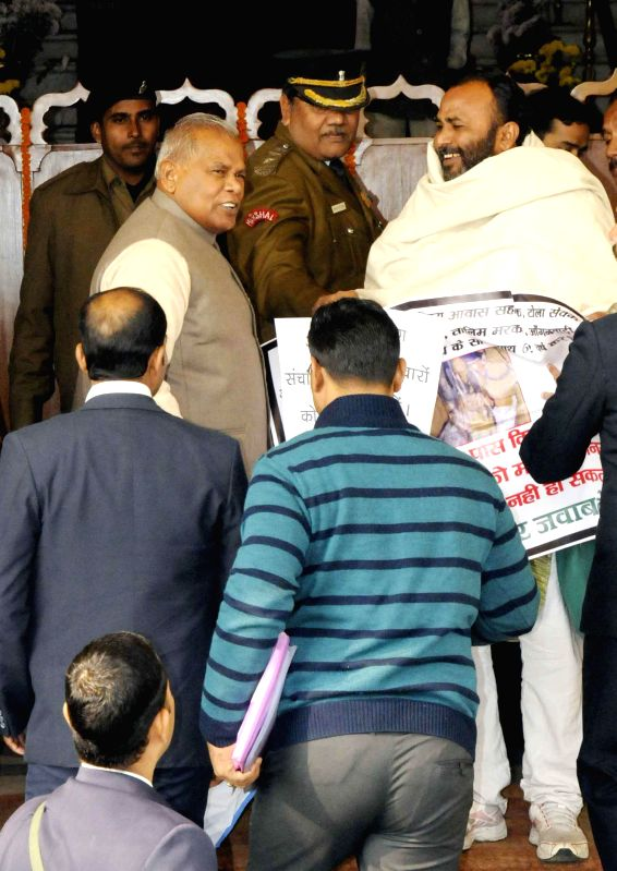 Bihar Chief Minister Jitan Ram Majhi arrives to attend winter session of Bihar Legislative Assembly in Patna on Dec 26, 2014. - Jitan Ram Majhi