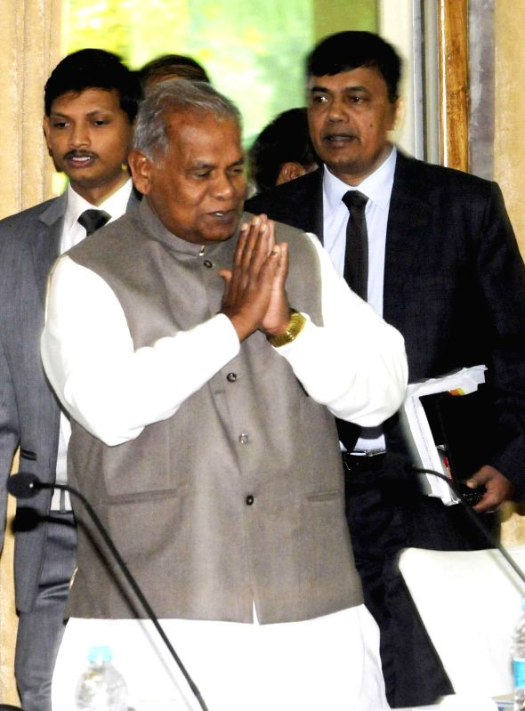 Bihar Chief Minister Jitan Ram Majhi arrives to attend an Ambedkar Foundation programme in Patna, on Jan 6, 2015. - Jitan Ram Majhi