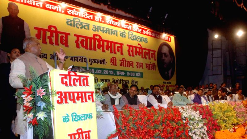 Bihar Chief Minister Jitan Ram Majhi addresses at Dalit Chetna rally in Patna, on Feb 19, 2015. - Jitan Ram Majhi