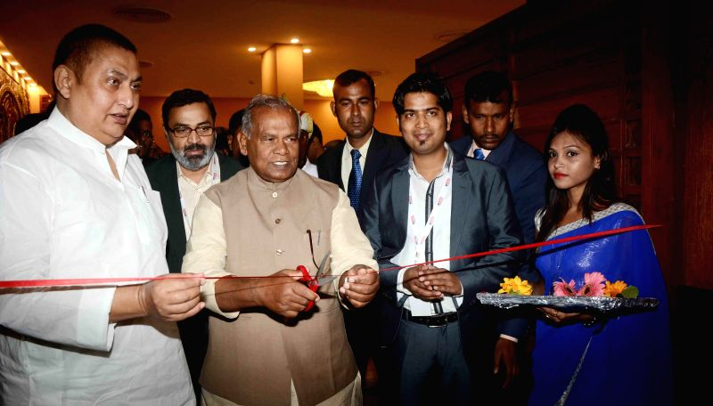 Bihar Chief Minister Jitan Ram Majhi at the inauguration of a programme in Patna on Feb 19, 2015. - Jitan Ram Majhi