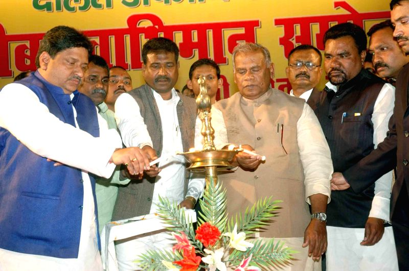 Bihar Chief Minister Jitan Ram Majhi at the inauguration of the Dalit Chetna rally in Patna, on Feb 19, 2015. - Jitan Ram Majhi