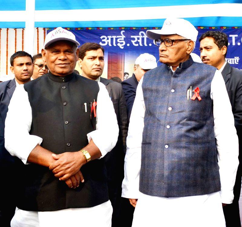Bihar Chief Minister Jitan Ram Majhi during a programme organised on World AIDS Day at Patna Women's College on Dec 1, 2014. - Jitan Ram Majhi