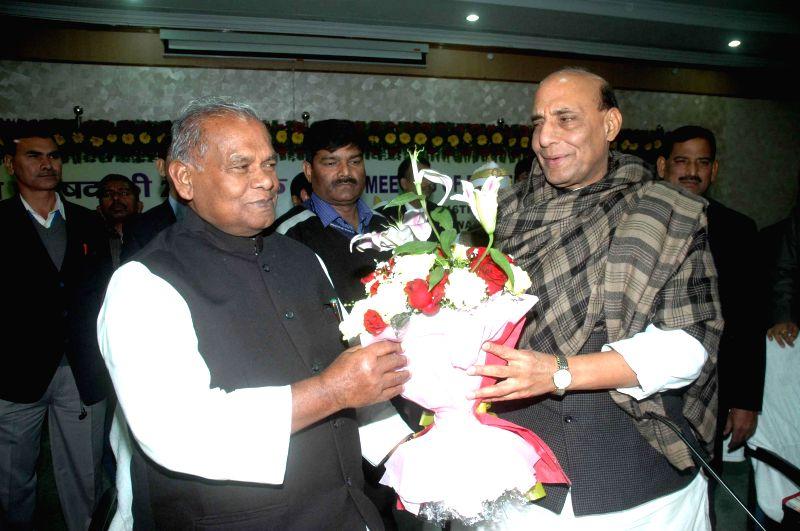 Bihar Chief Minister Jitan Ram Majhi greets Union Home Minister Rajnath Singh at Bihar Secretariat in Patna, on Jan 16, 2015. - Jitan Ram Majhi