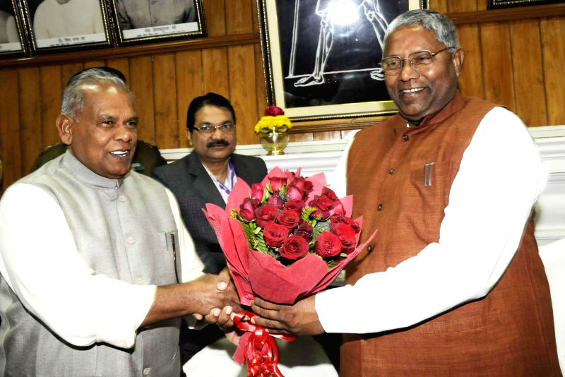 Bihar Chief Minister Jitan Ram Majhi with state assembly speaker Uday Narayan Choudhary on Day-1 of the winter session of Bihar Legislative Assembly in Patna, on Dec 19, 2014. - Jitan Ram Majhi and Uday Narayan Choudhary