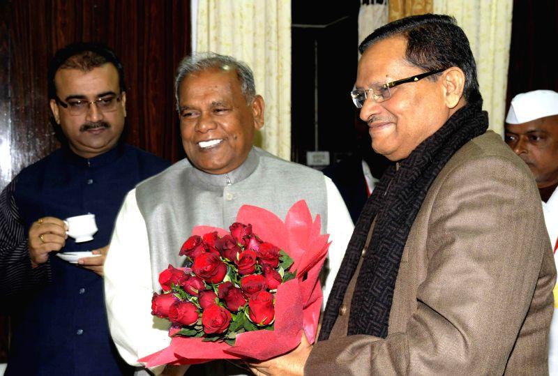 Bihar Chief Minister Jitan Ram Majhi with the chairman of Bihar Legislative Council Awadhesh Narain Singh on Day-1 of the winter session of the council in Patna, on Dec 19, 2014. Also seen ... - Jitan Ram Majhi and Mangal Pandey