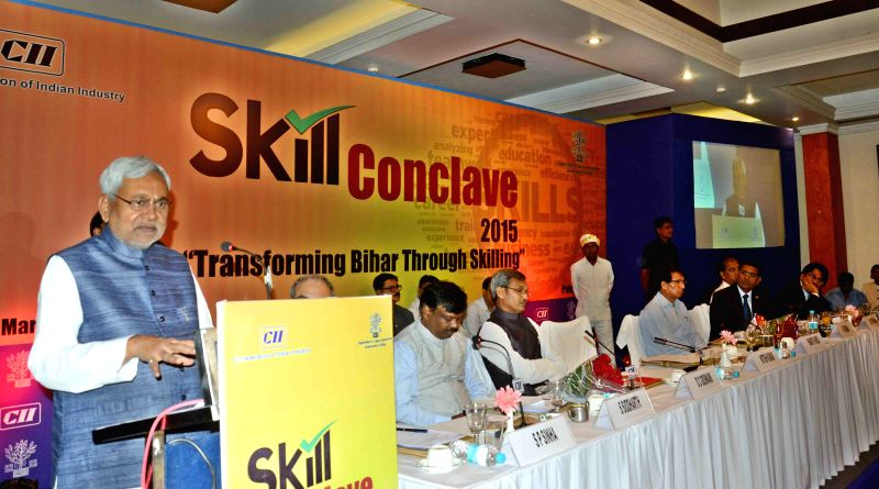 Bihar Chief Minister Nitish Kumar addresses during `Skill Conclave 2015` organised by CII in Patna on March 28, 2015. - Nitish Kumar