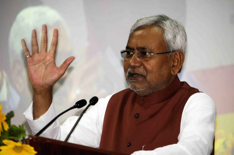 Bihar Chief Minister Nitish Kumar addresses at the launch of Mission Indradhanush - an immunisation programme in Patna, on April 7, 2015. - Nitish Kumar