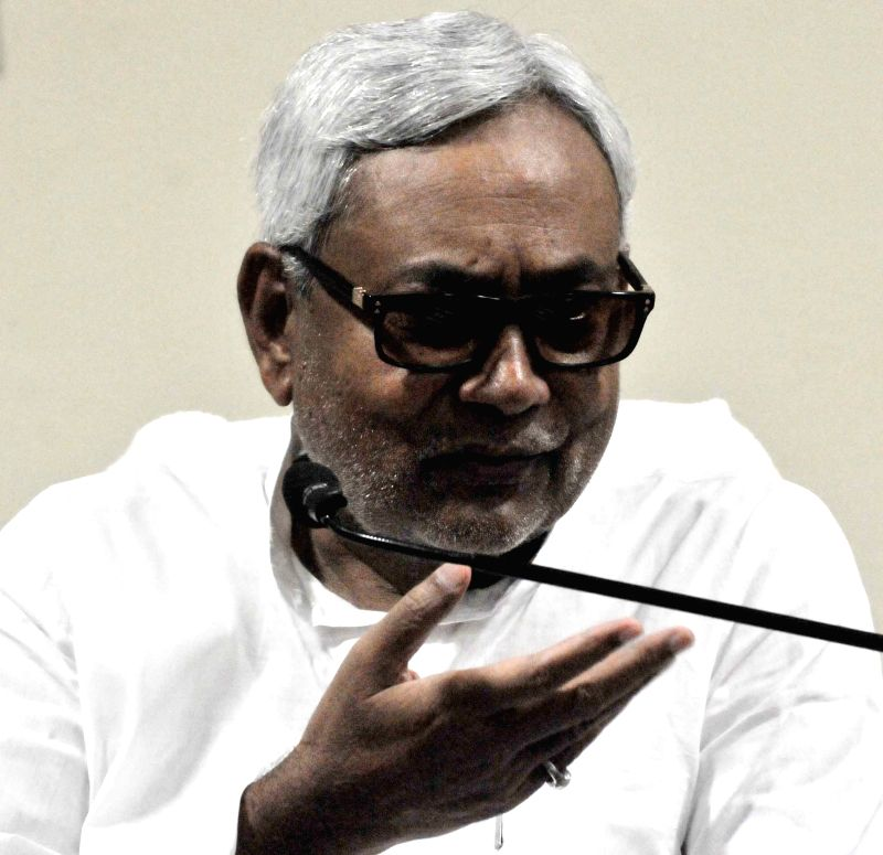 Bihar Chief Minister Nitish Kumar addresses a press conference in Patna, on June 1, 2015.