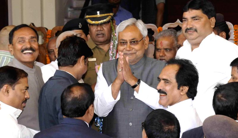 Bihar Chief Minister Nitish Kumar arrives at the Bihar assembly in Patna, on March 11, 2015.