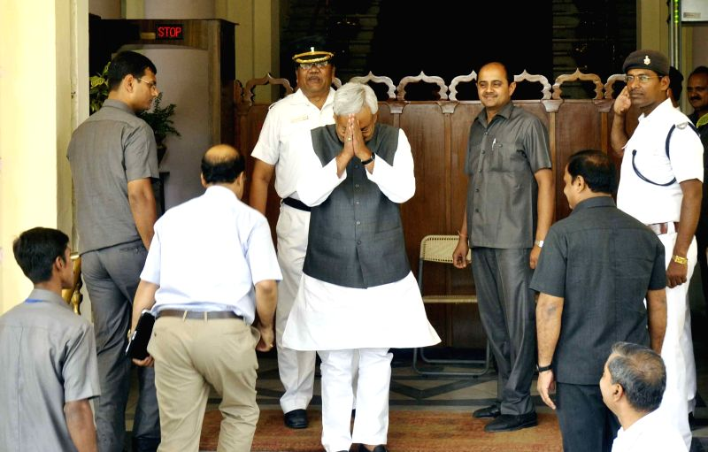 Bihar Chief Minister Nitish Kumar arrives at Bihar assembly in Patna, on April 22, 2015.