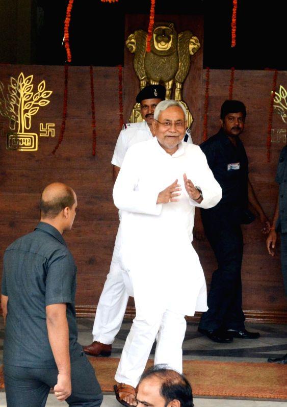 :Patna: Bihar Chief Minister Nitish Kumar arrives at the state legislative assembly, in Patna on July 23, 2018. (Photo: IANS).