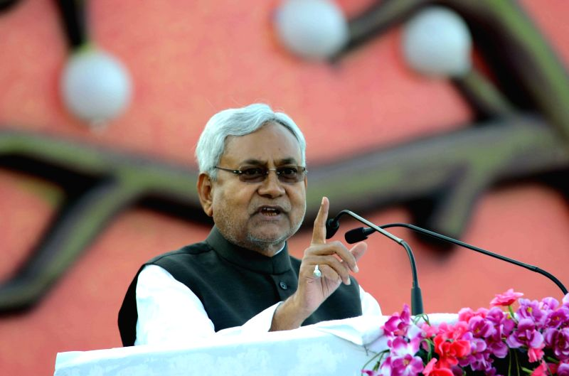 Bihar Chief MInister Nitish Kumar during celebration of Bihar Diwas in Patna on March 22, 2015.