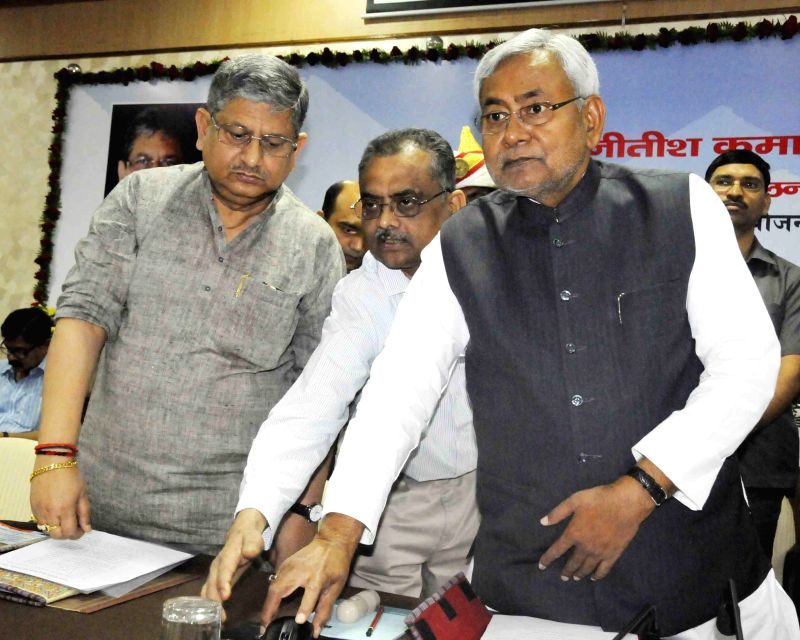 Bihar Chief Minister Nitish Kumar during a programme in Patna, on April 4, 2015. - Nitish Kumar