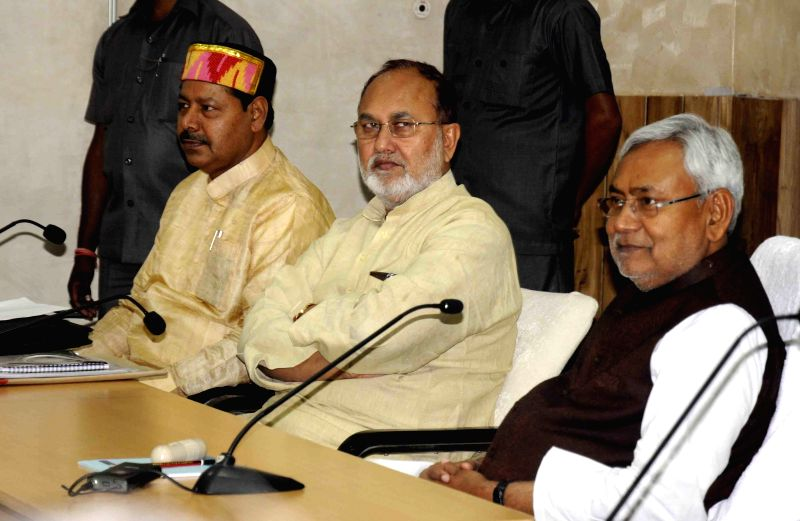 Bihar Chief Minister Nitish Kumar during a meeting with RJD leaders in Patna on April 10, 2015.