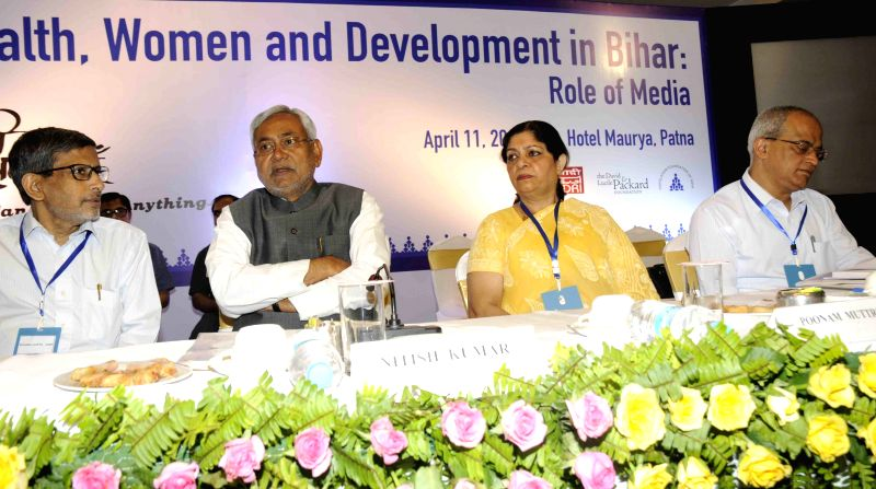 Bihar Chief Minister Nitish Kumar during a workshop organised on Health, Women and Development in Patna on April 11, 2015.
