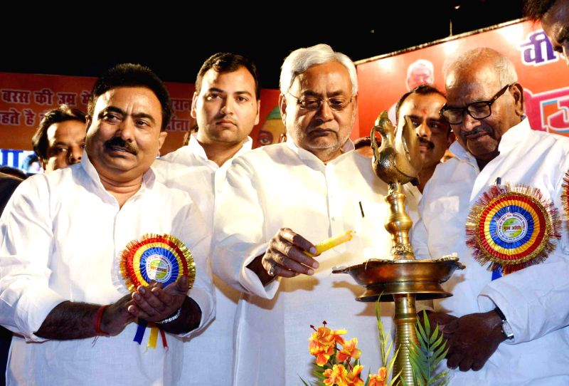 Bihar Chief Minister Nitish Kumar during a programme organised on Veer Kunwar Singh Jayanti in Patna, on April 23, 2015. - Nitish Kumar