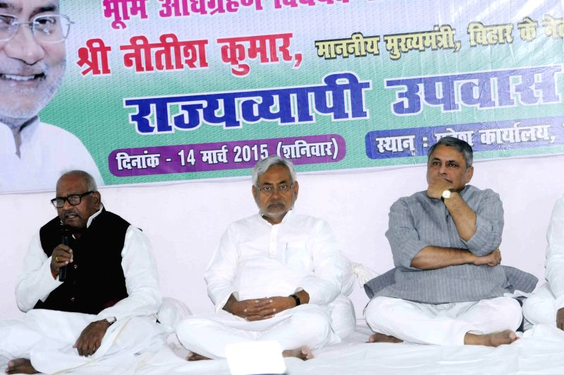 Bihar Chief Minister Nitish Kumar sits on a hunger strike against the land acquisition bill in Patna, on March 14, 2015.