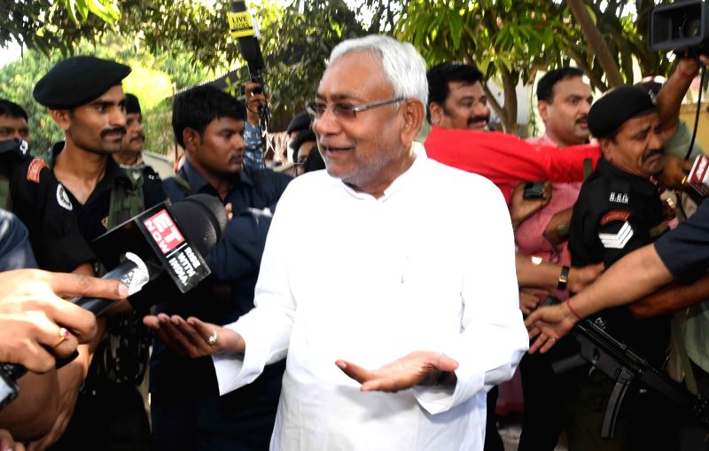 Patna: Bihar Chief Minister Nitish Kumar talks to press after casting vote during the seventh and the last phase of 2019 Lok Sabha Elections at a polling booth in Patna on May 19, 2019.