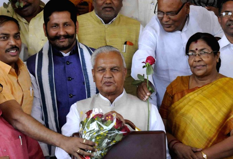 Bihar Finance Minister Bijendra Yadav arrives to present the state budget for 2015-16 at Bihar assembly in Patna, on March 12, 2015. - Bijendra Yadav