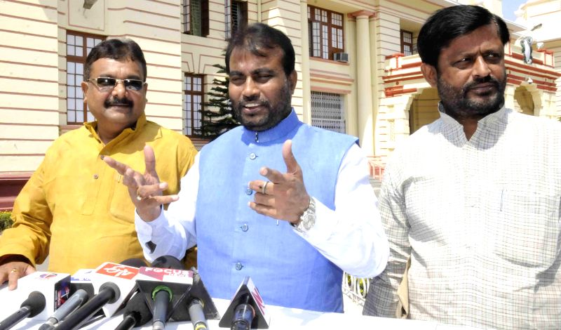 Bihar Minister Shyam Rajak addresses press at the Bihar assembly in Patna, on March 13, 2015. - Shyam Rajak