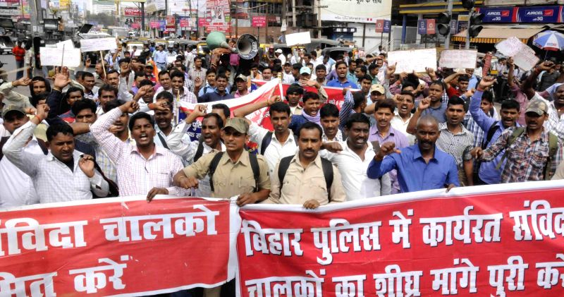 Bihar Police drivers stage a demonstration to press for their demands in Patna, on March 14, 2015.