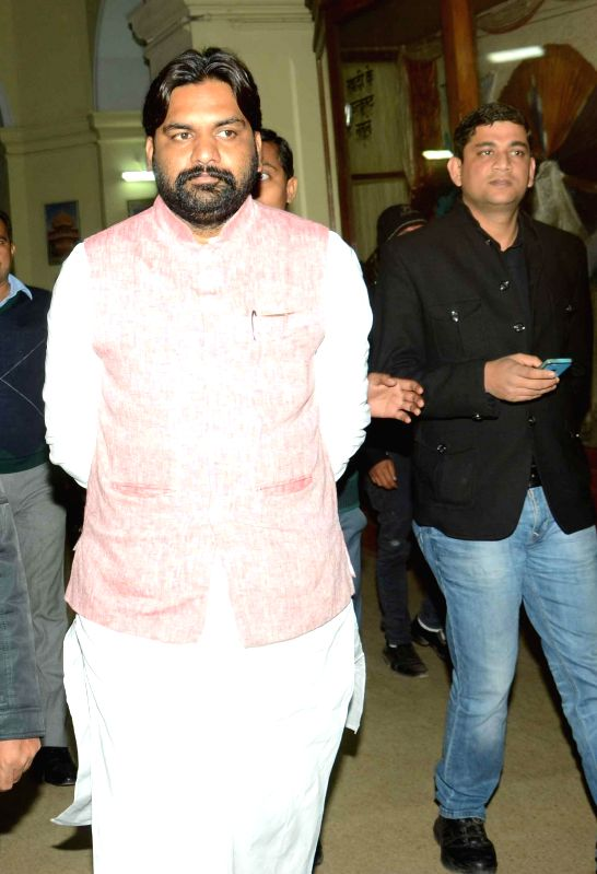 Bihar Urban Development Minister Samrat Chaudhary comes out after a cabinet meeting in Patna on Feb 10, 2015. - Samrat Chaudhary