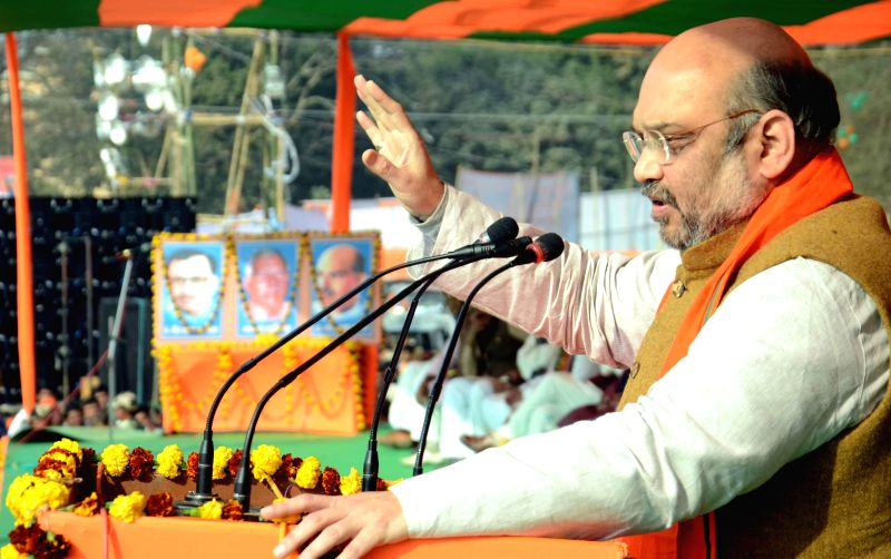 BJP chief Amit Sha addresses at a rally in in Patna on Jan 23, 2015.