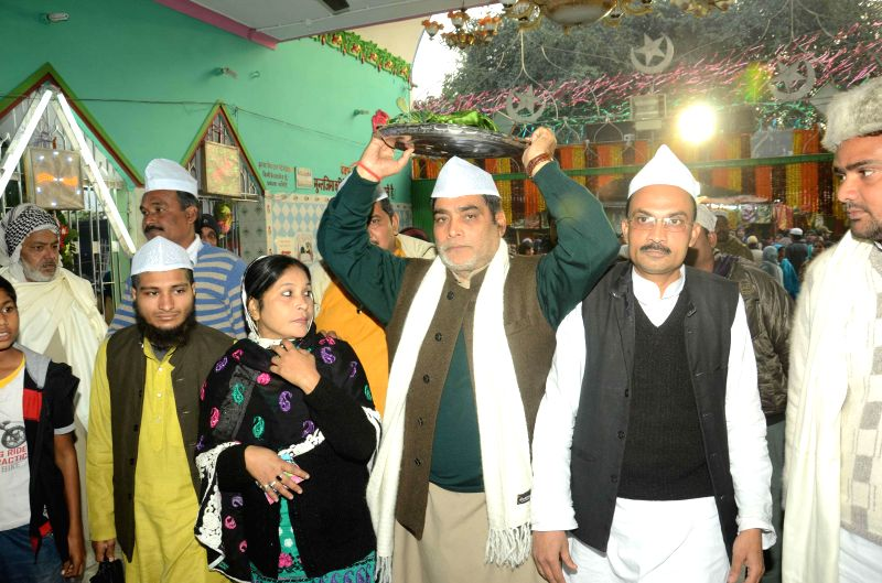 BJP leadar Ram Kripal Yadav visits a mazar at Patna High Court in Patna, on Jan 9, 2015.