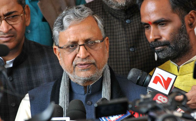 BJP leader Sushil Kumar Modi addresses media on Day-1 of the winter session of Bihar Legislative Assembly in Patna, on Dec 19, 2014.