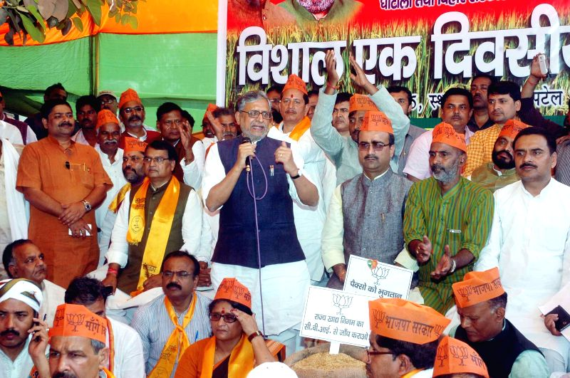 BJP leader Sushil Kumar Modi addresses during a demonstration in Patna on March 20, 2015. (Photo: IANS - Sushil Kumar Modi
