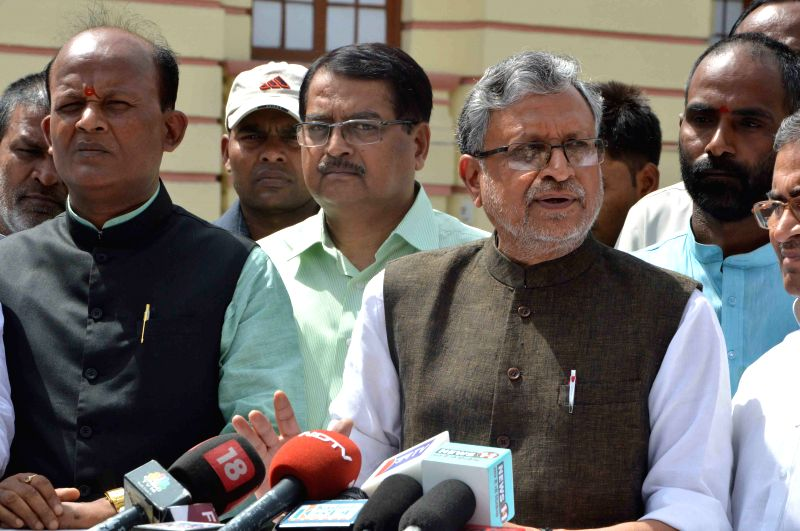 BJP leader Sushil Kumar Modi addresses media at Bihar assembly in Patna, on April 22, 2015. - Sushil Kumar Modi