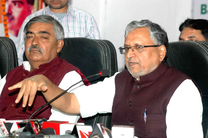 BJP leader Sushil Kumar Modi addresses a press conference at BJP office in Patna on Nov 29, 2014.