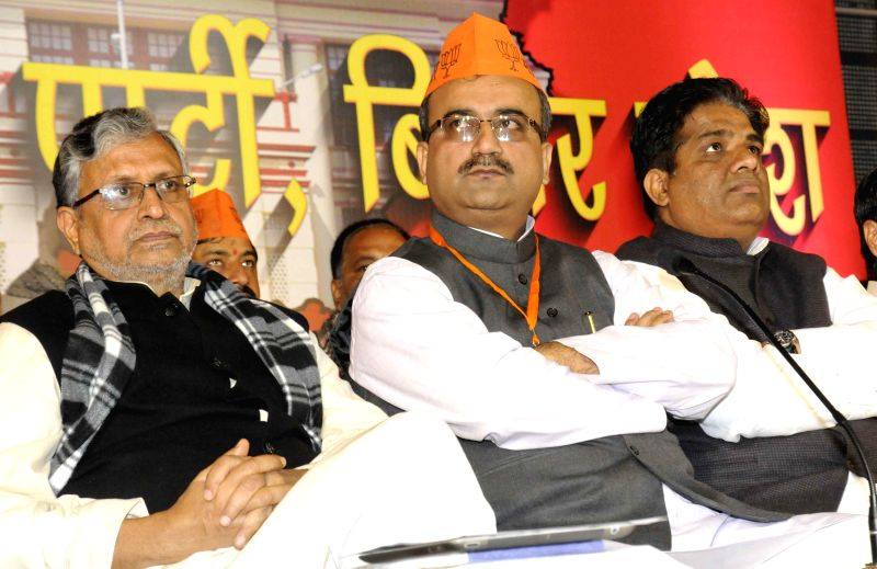 BJP leaders including party chief Mangal Pandey and Sushil Kumar Modi during a party meeting in Patna, on Jan 6, 2015. - Mangal Pandey and Sushil Kumar Modi