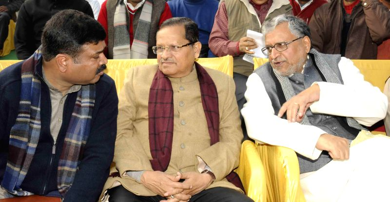 BJP leaders including Sushil Kumar Modi during a programme organised on the death anniversary of Navin Kishore Prasad Sinha in Patna, on Dec 31, 2014.