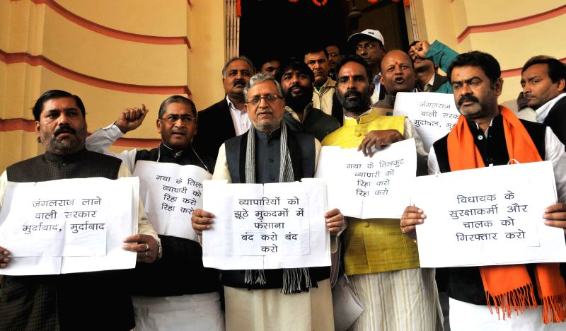 BJP legislators led by party leader Sushil Kumar Modi stage a protest against Bihar government on Day-1 of the winter session of Bihar Legislative Assembly in Patna, on Dec 19, 2014. - Sushil Kumar Modi