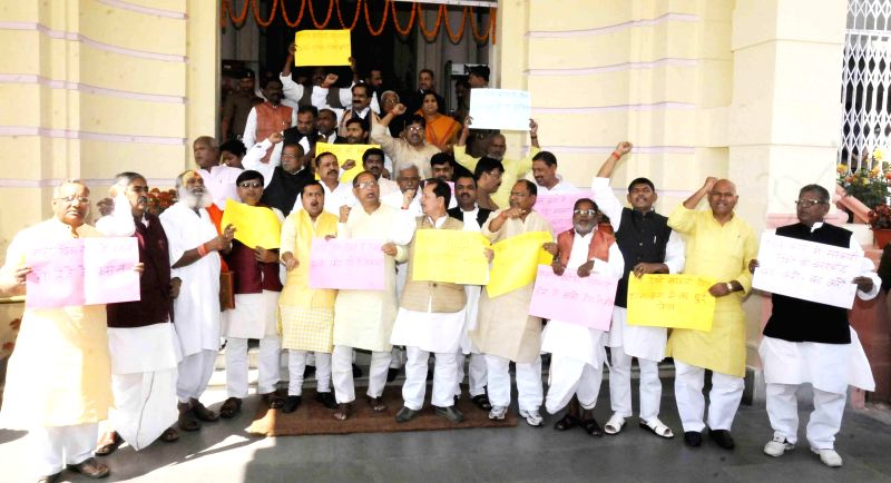 BJP legislators stage a demonstration at Bihar assembly in Patna on March 12, 2015.