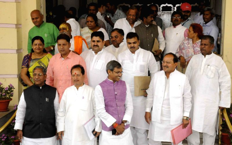 BJP legislators stage a demonstration at Bihar Assembly in Patna on April 15, 2015.