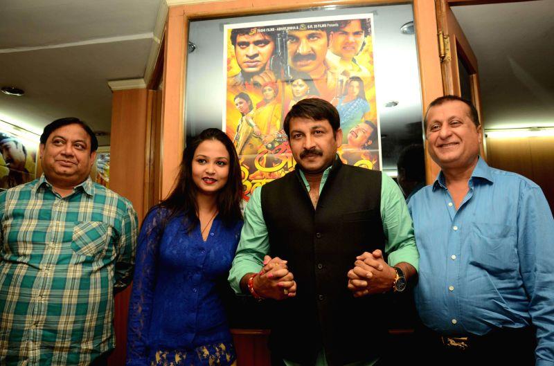BJP MP and actor Manoj Tiwari during promotions of upcoming Bhojpuri film `Aurat Khilauna Nahi` in Patna, on Nov 25, 2014.