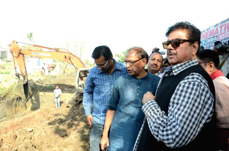 BJP MP from Patna Saheb Shatrughan Sinha during his visit to Ashok Nagar in Patna on April 11, 2015.