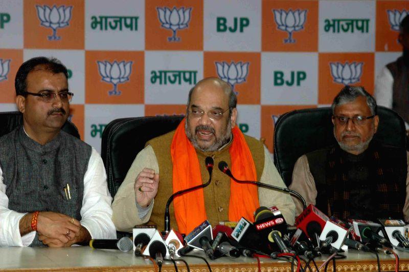 BJP president Amit Shah addressing media in Patna on Jan. 24, 2015.