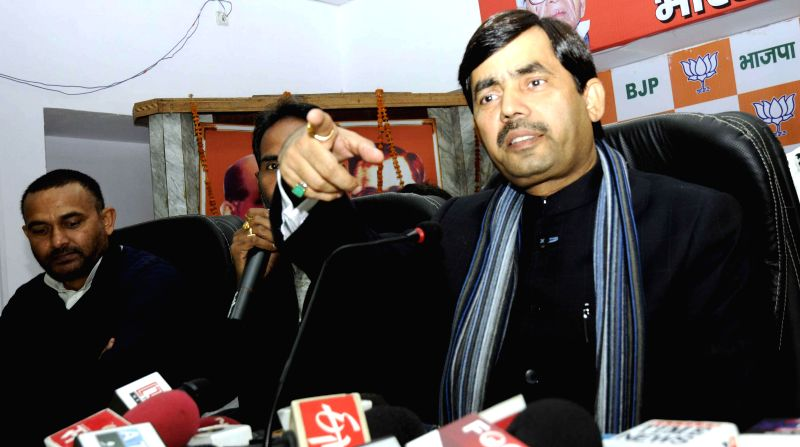 BJP spokesperson Syed Shahnawaz Hussain addresses a press conference in Patna, on Jan 13, 2015.