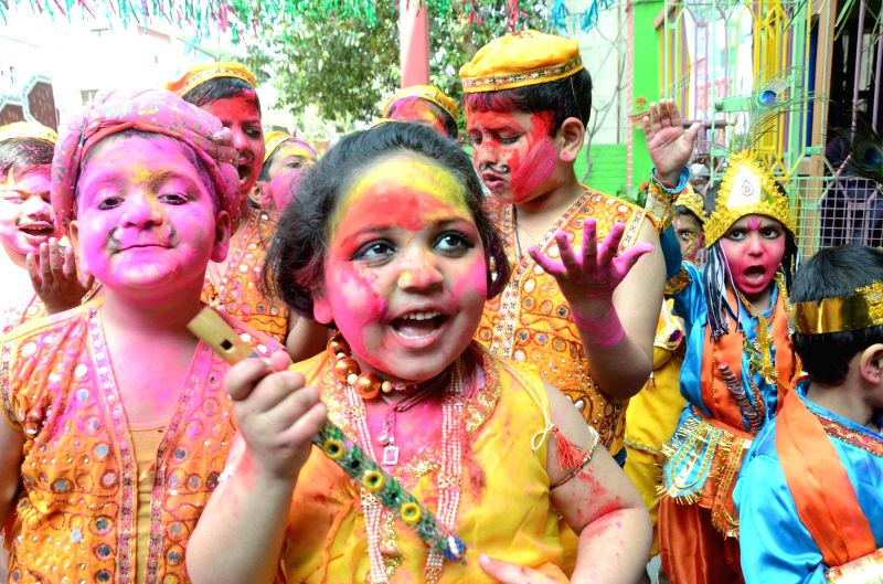 Children celebrate Holi in Patna on March 3, 2015.