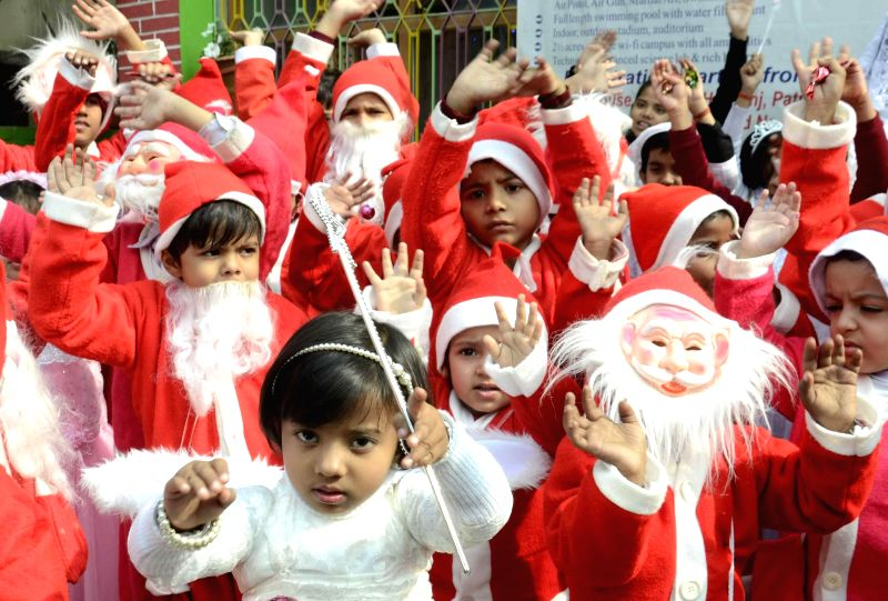 Children during Christmas celebrations at a Patna School on Dec 20, 2014.