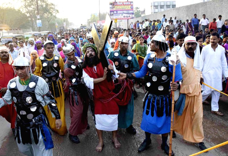 Christians participate in a procession organised on Good Friday in Patna, on April 3, 2015.