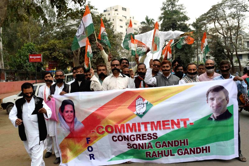 Congressmen participate in a silent demonstration in Patna on March 16, 2015.